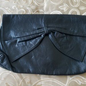 Vintage Kid Leather, Zippered Clutch with Bow